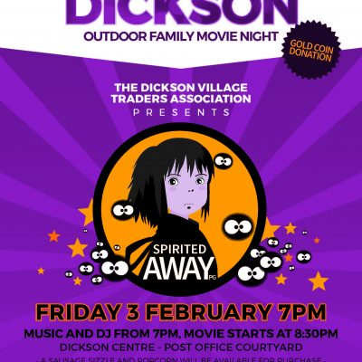 Flix'n Dickson Outdoor Family Disco & Movie night, Friday 3 February
