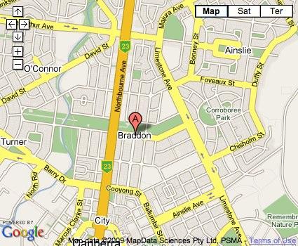 Location Map for Braddon
