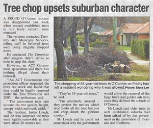 20090623 Chronicle - Tree chop upsets suburban character