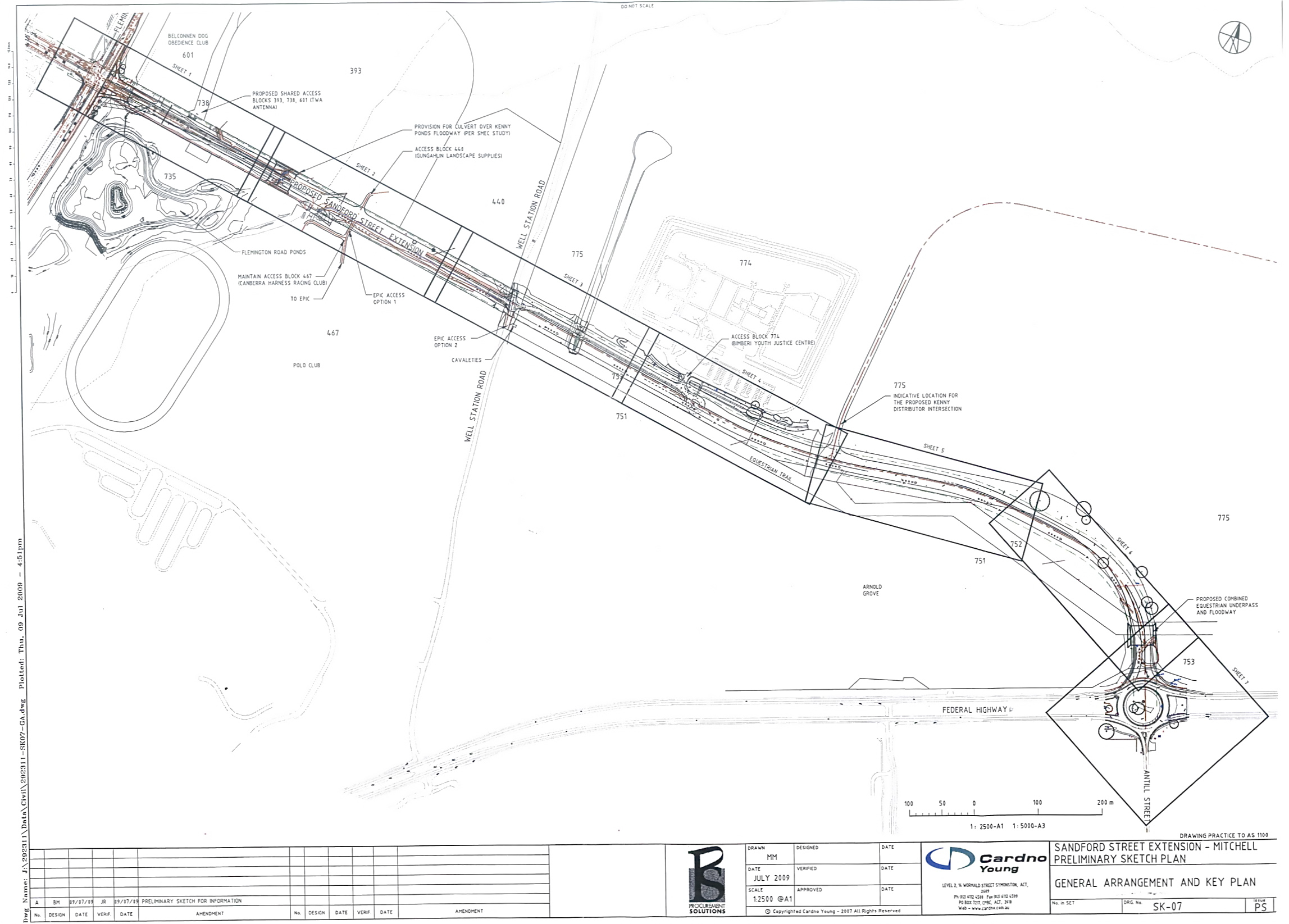 Proposed Route of Sanford  Street Extension to Federal Highway