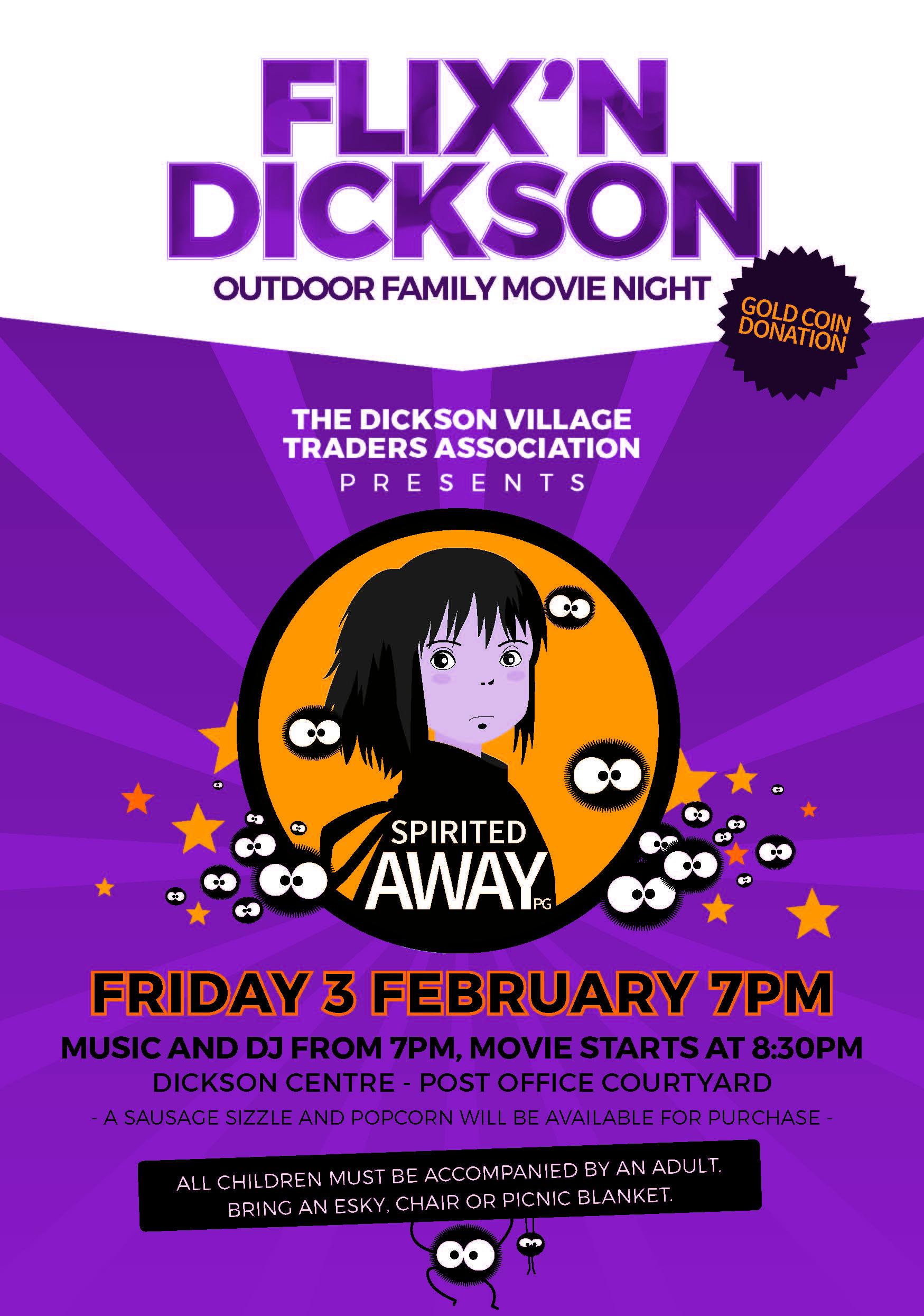 Flix'n Dickson Outdoor Family Disco & Movie night, Friday 3 February